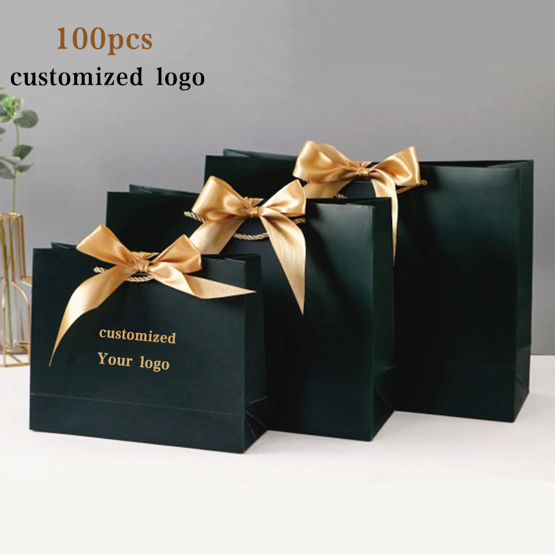 100x Paper Bag Gift Boxes Commodity Packaging Handbag Customize Logo With Frame Shopping Promotion Bags Wedding Gifts Wrapping