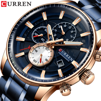 CURREN 8362 Watch Men Top Luxury Brand Blue Sport Waterproof Quartz Watches Mens Chronograph With Box
