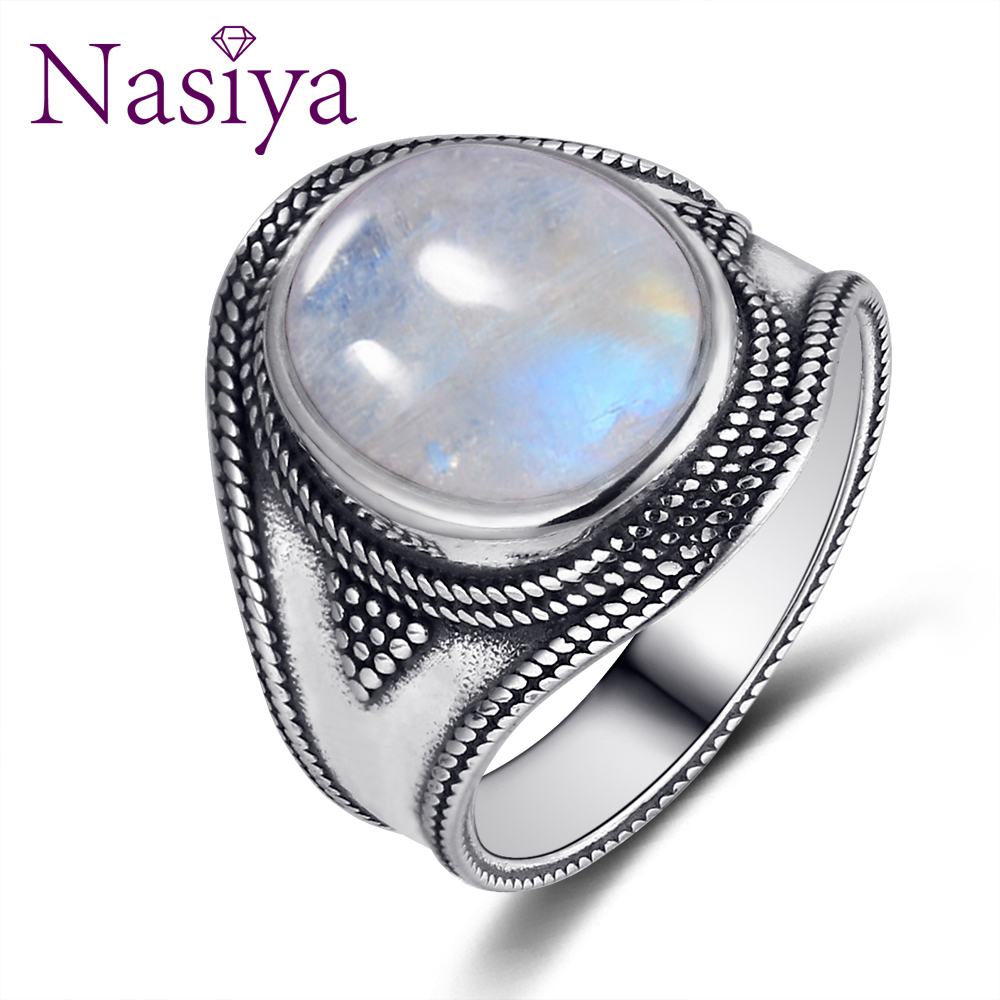 Nasiya Big Oval 10x12MM Moonstone Rings In Solid Silver Gemstones Jewelry Rings For Men Women Wholesale Dropshipping