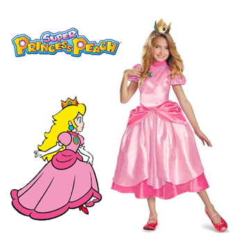 Princess Peach/ Classic Game Costume Kids Girls Carnival Cosplay Party Dress princess peach super mario bros costume classic game mario costume kids girls carnival cosplay party dress