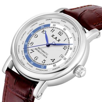 Worldtimer automatyczne self-wiatr mężczyźni zegarki ze stali nierdzewnej mechaniczne zegarki wodoodporne ogromne zegarki twarzy tanie i dobre opinie X A X 3Bar Klamra Luxury ru 26cm STAINLESS STEEL Stoper Odporny na wstrząsy Auto data Pływać Anti-magnetyczne X013C ROUND