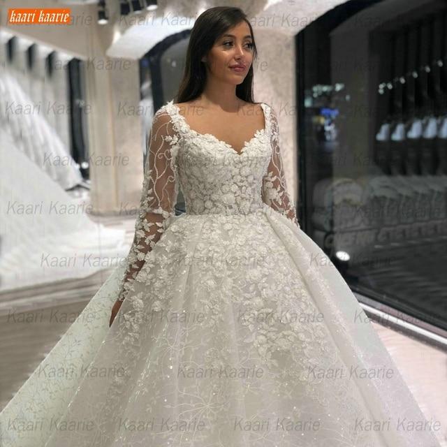 Luxury Lace Wedding Dresses Long Sleeves 2021 robe de mariage Beaded Appliqued Ball Gown Bridal Dresses Arabian vestido de noiva 2