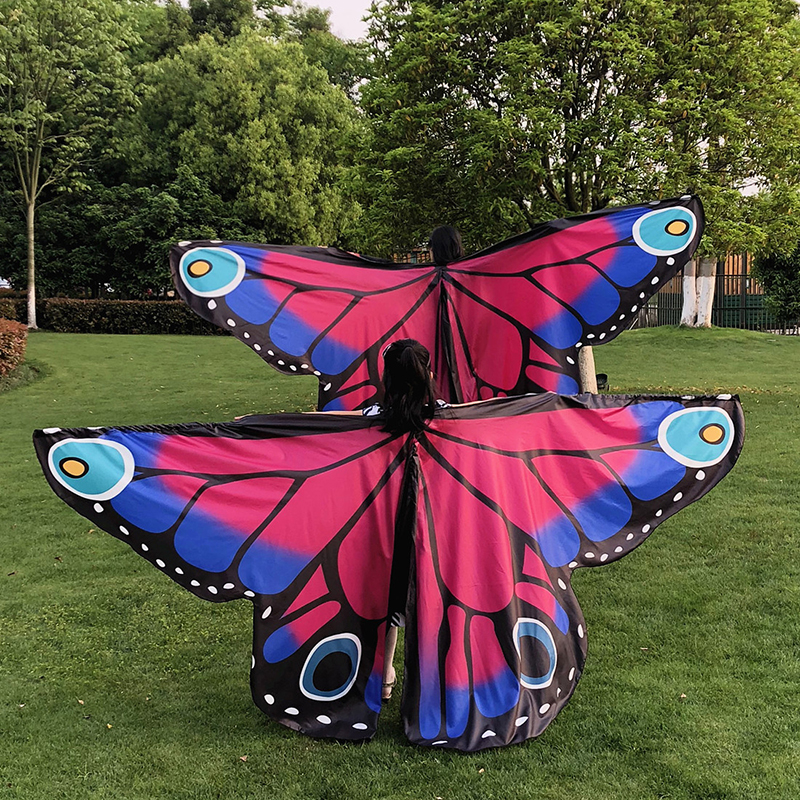 Child Rainbow Butterfly Belly Dance Isis Wings Adult Wings 360 Degree Big Butterfly Props High Quality Belly Dance Wing No Stick