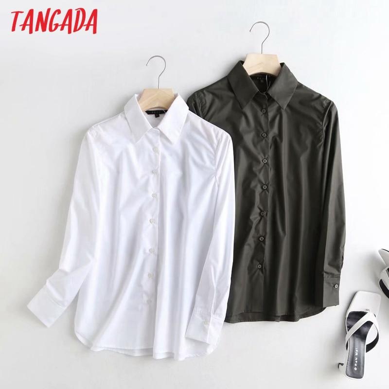Tangada-Blusa de manga larga de oficina para mujer, camisa blanca elegante de alta calidad, color liso, Ropa de Trabajo, 4C61