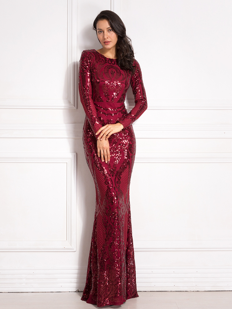 Sequined Maxi Dress Full Sleeved O Neck Stretchy Autumn Winter Long Evening Party Dress 8