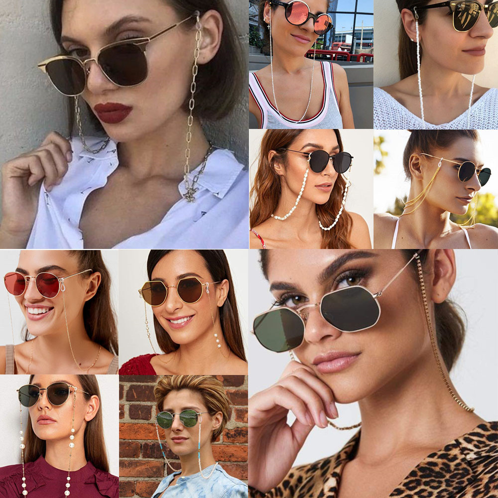 MLING 20 Style Vintage Metal Sunglasses Cords Casual Pearl Beaded Geometric Glasses Chain For Men Women
