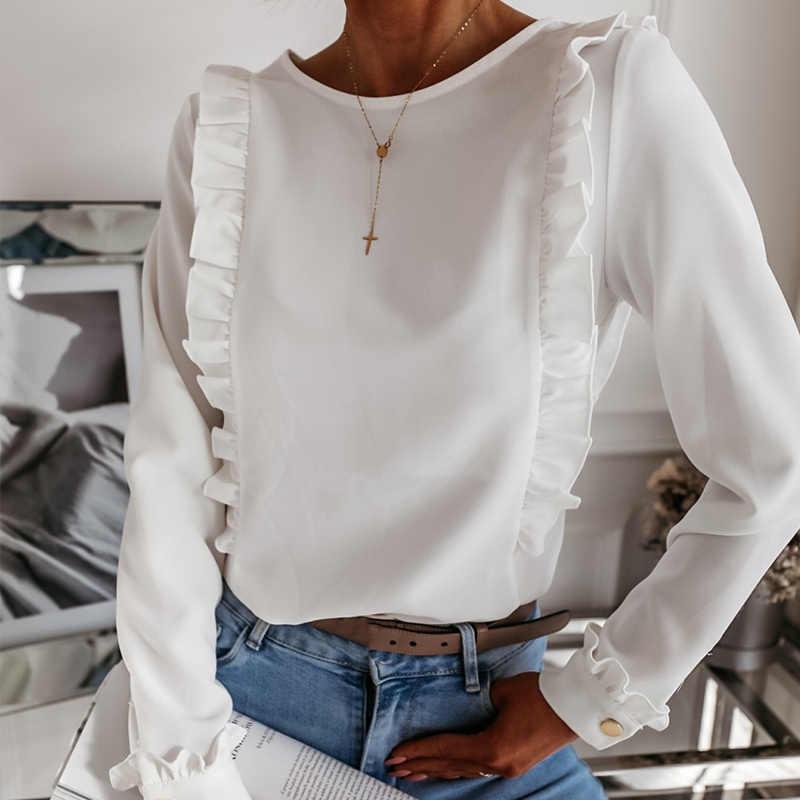 Kadın Ruffles beyaz geri düğmeleri OL bluz o-boyun uzun kollu katı üstleri kadın 2020 bahar sonbahar moda rahat bluzlar bayanlar