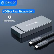 ORICO Thunderbolt 3 M.2 NVME SSD Enclosure 40Gbps สนับสนุน 2TB อลูมิเนียม 40Gbps Thunderbolt 3 C ถึง C สายเคเบิลสำหรับ MAC WINDOWS