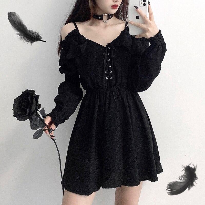 Женское платье, оригинальное черное весенне-осеннее Сексуальное Женское Платье с высокой талией, платье на плечо с длинным рукавом, готичес...