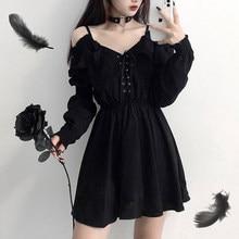 Vestido feminino demônio menina original preto primavera e outono 2021 sexy de cintura alta femme vestido ombro manga longa vestido gótico a085