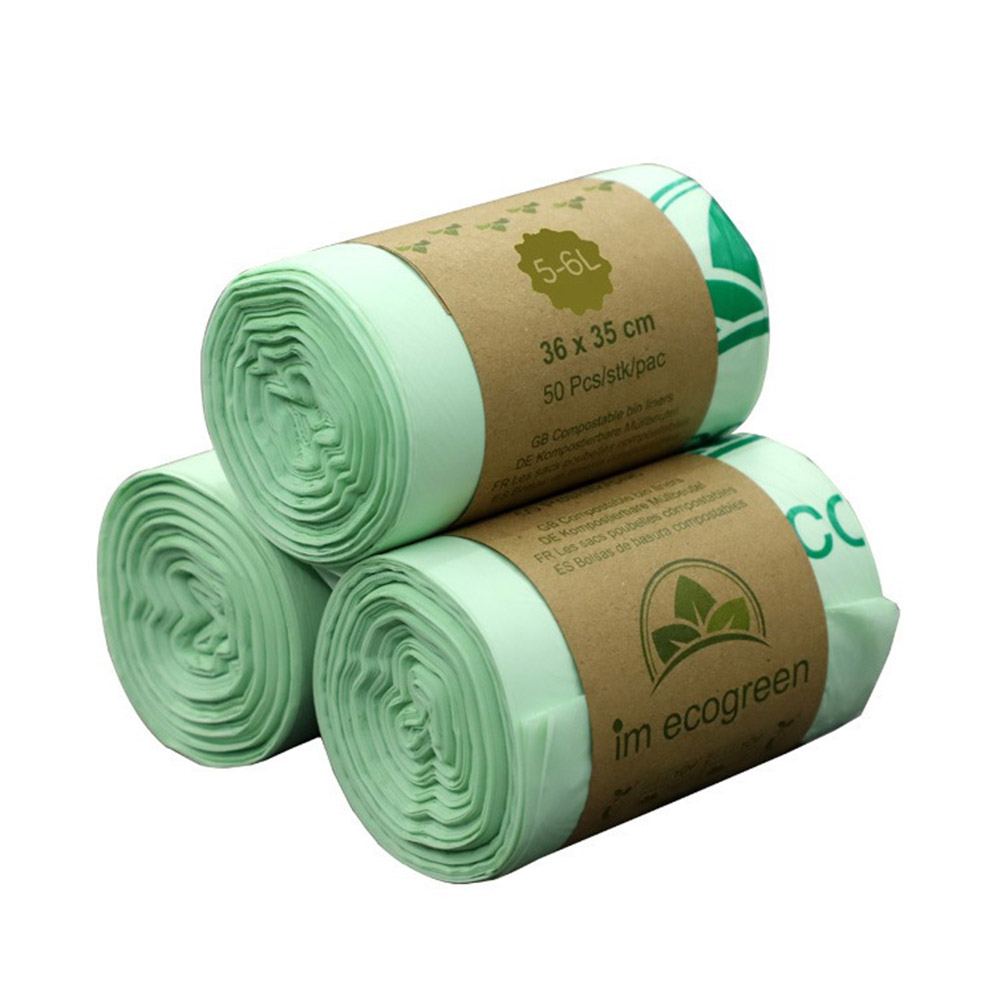50pcs Garbage Bags Biodegradable Trash Bags Compostable Bags Rubbish Bags Wastebasket Liners Bags for Kitchen|Trash Bags| |  - title=