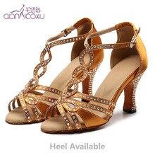 2020 Jazz Salsa Ballroom Latin Dance Shoes For Dancing Women Social Newmen Tap Small Feet Golden Heel Pumps Rhinestones Sandals