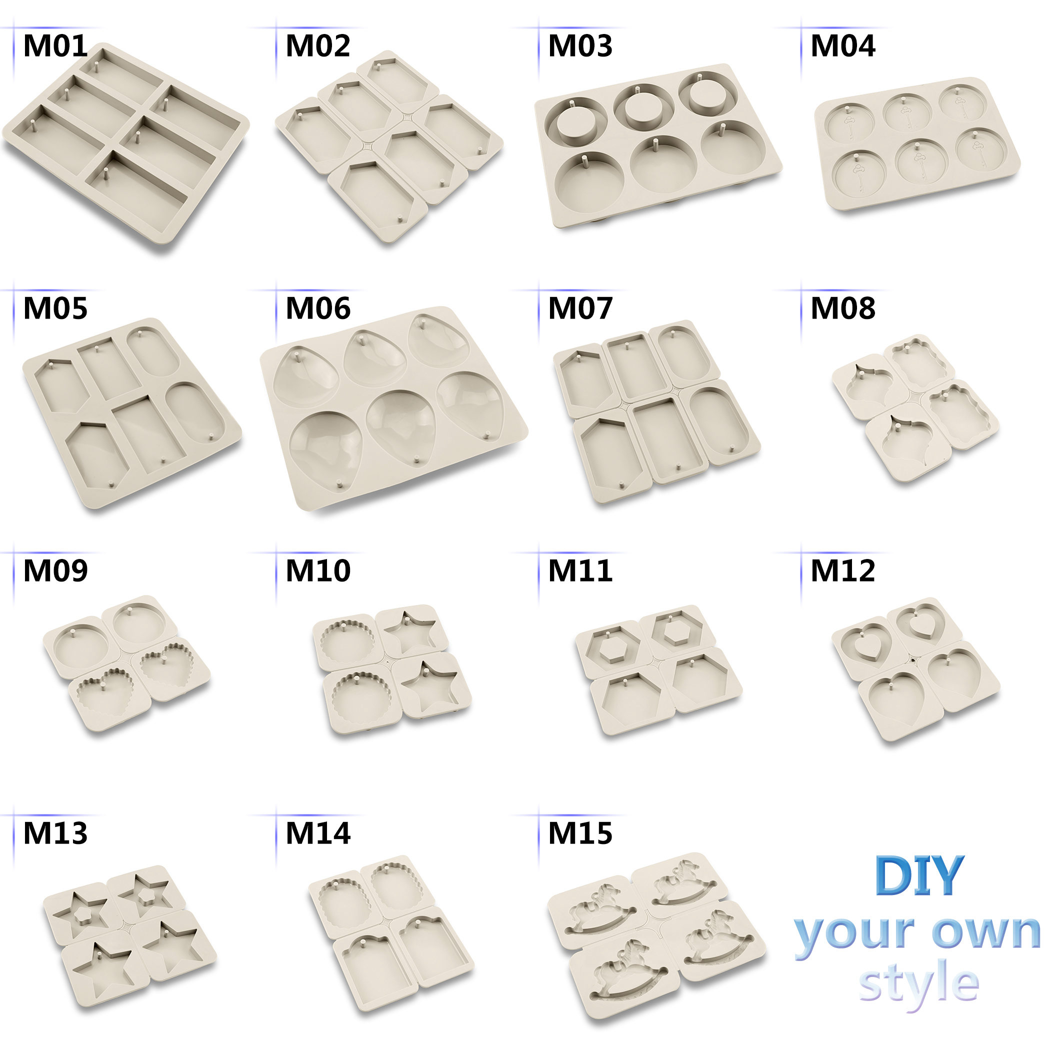 Kinds Silicone Soap Molds Wax Resin Mould Plaster Clay Fondant Cake DIY Hand Making