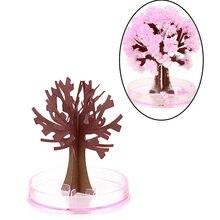Mini visual magia artificial sakura árvores decorativo crescente diy presente da árvore de papel novidade brinquedo do bebê flor árvore explorar
