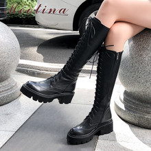 Купить с кэшбэком Meotina Autumn Knee High Boots Women Natural Genuine Leather Chunky High Heel Tall Boots Zipper Round Toe Shoes Lady Winter 4-10