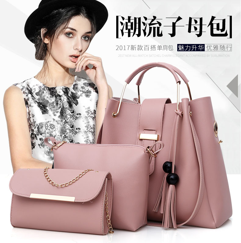 Ladies Handbag Pu Tote Bag Female Shopping Shoulder Bag Elegant Fashionable Trend Tote Bag Three-piece Waterproof Bag