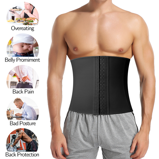 Men Latex Waist Trainer Cincher Sauna Sweat Belt Fitness Weight Loss Fat Burning Body Shaper Tummy Control Girdle Modeling Strap 1