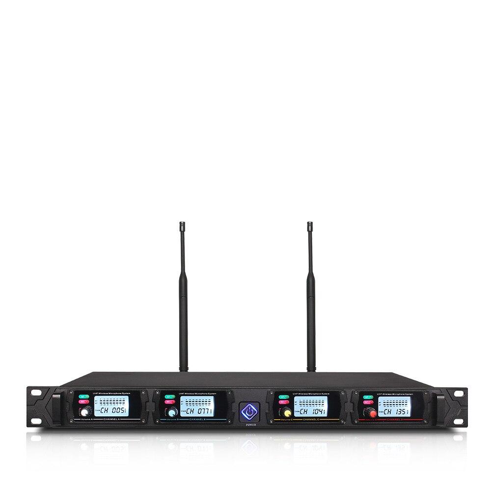 Système de microphone sans fil professionnel ERZHEN UHF4 canal poche revers condensateur casque karaoké microphone studio 8000G micro - 3
