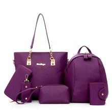 6pcs Women Handbag Set Waterproof Oxford Shoulder Crossbody Bags Ladies Messenger Bag Big Tote Cltuch Purse Black Composite