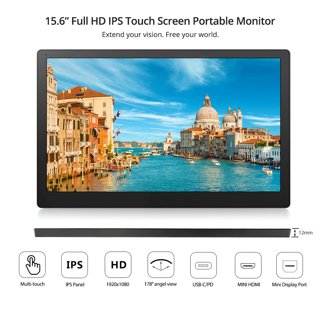 Elecrow Computer Portable Monitors 1920x1080 HD IPS 15.6 Inch Monitor With HDMI Type C Connector 15.6'' LCD Touch Screen Display