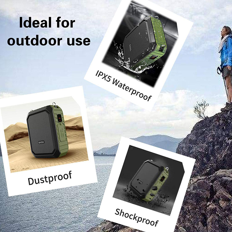 SHIDU Bluetooth Speaker Portable Voice Amplifier with Wireless Microphone Headset 18W Waterproof Speakers 4400Mah battery M800