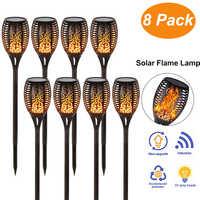 33 LED Luz de llama Solar parpadeante IP65 impermeable LED solar luces de jardín suave Control de luz danza llama diseño al aire libre