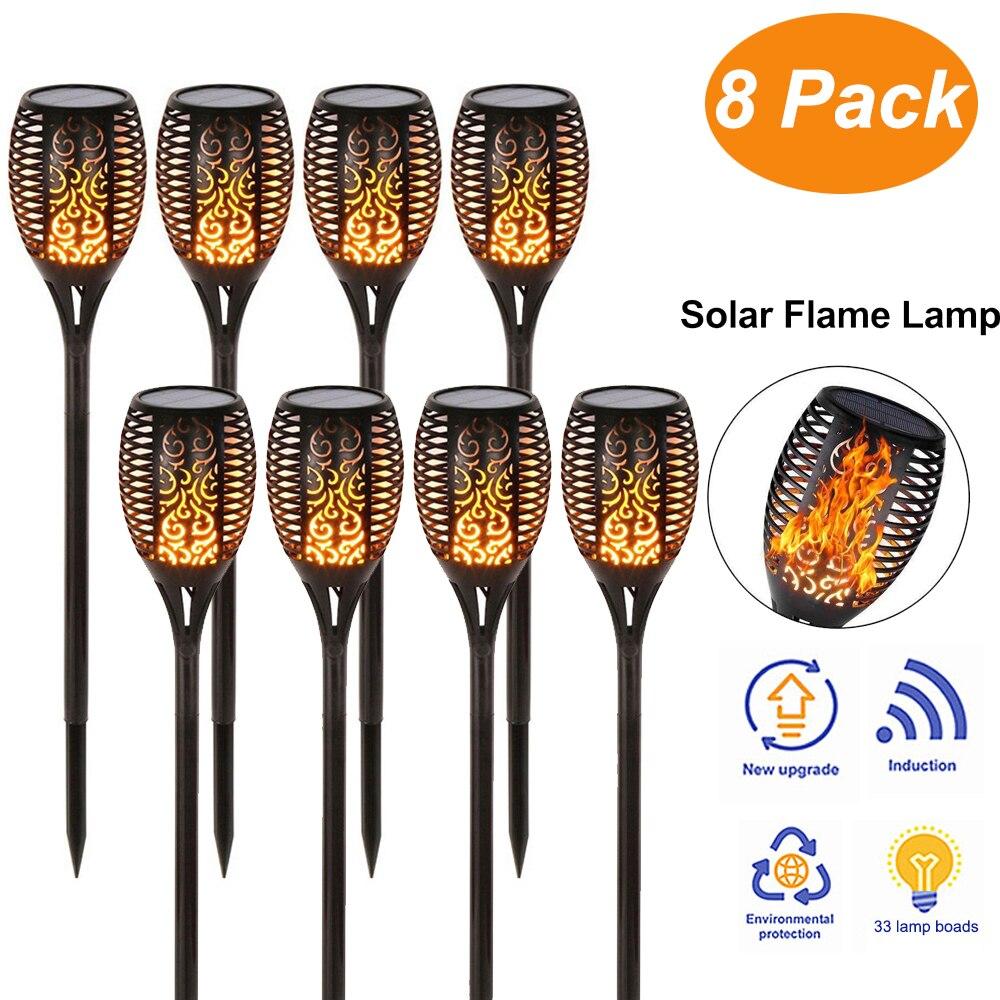 33 LED luz Solar de llama parpadeante IP65 impermeable LED luces solares de jardín Control de luz suave diseño de llama de baile al aire libre
