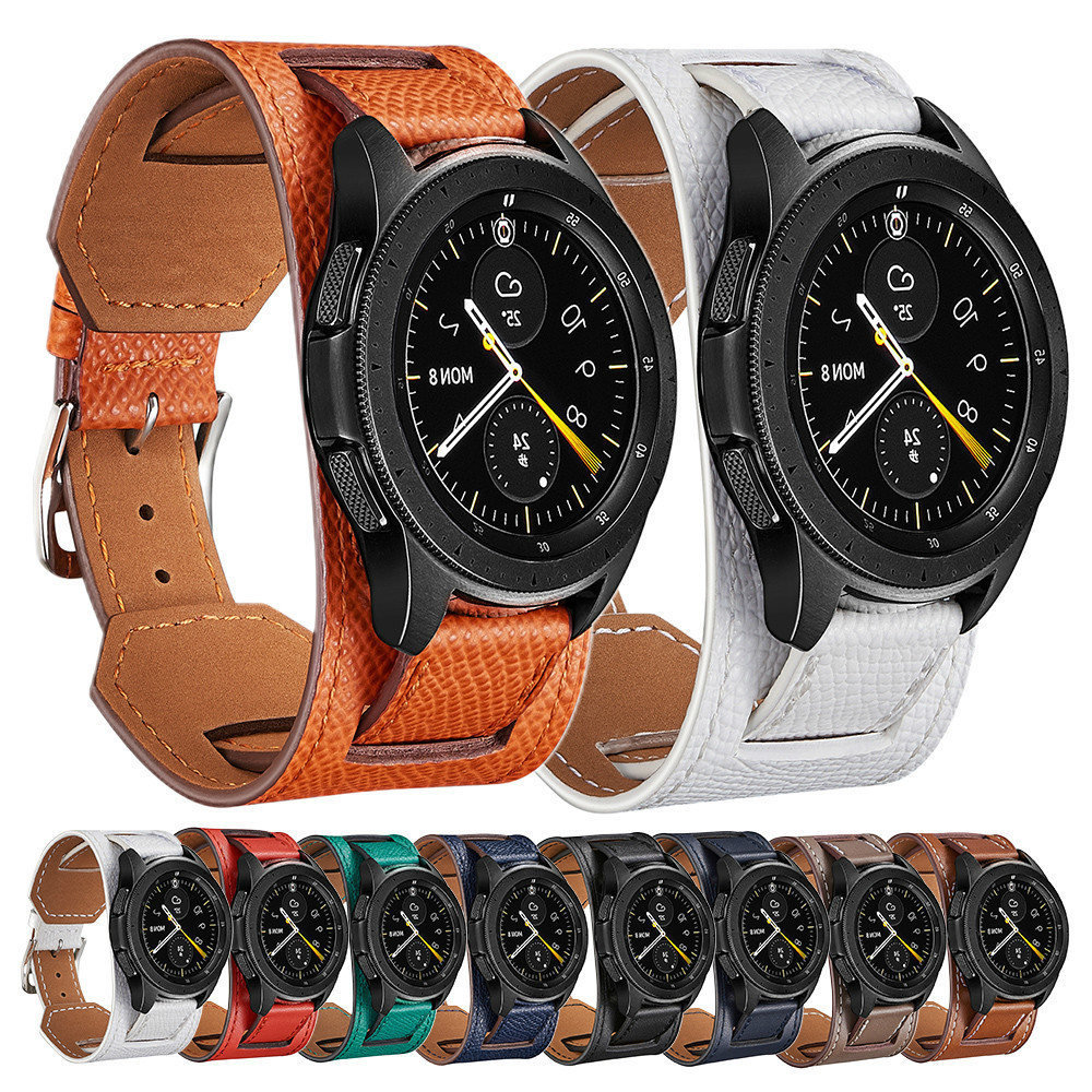 22 20mm leather Strap For Garmin Vivoactive 3 <font><b>Samsung</b></font> Gear S2 Active 2 Galaxy <font><b>46mm</b></font> 42 Amazfit 2 3 GTR 42mm <font><b>Smart</b></font> <font><b>Bracelet</b></font> Wrist image