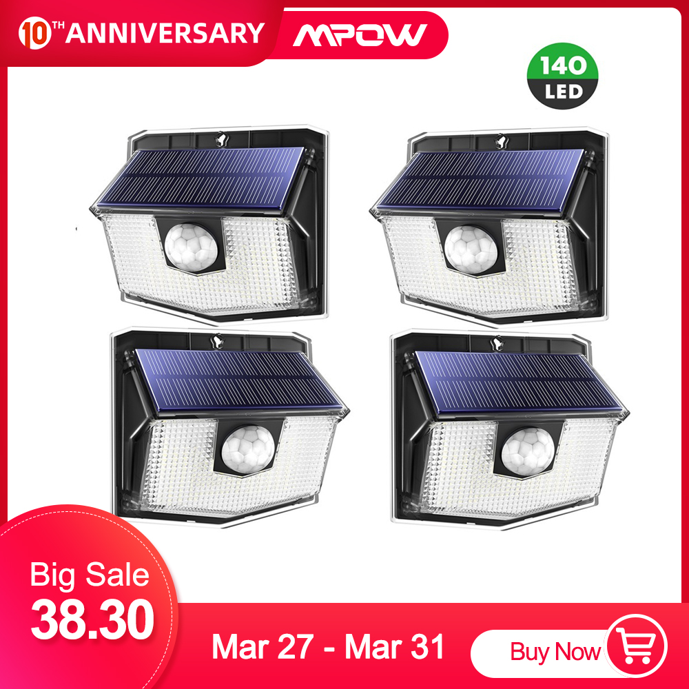 4 Pack MPOW 140 LED Solar Garden Light IPX7 Waterproof Wireless Motion Sensor Lamp With 3 Lighting Mode Super Bright Wall Lights