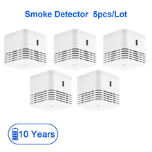 CPVan 5pcs/Lot mini Fire detector wireless smoke detector EN14604 CE certified 85dB loud alarm smoke sensor photoelectric sensor
