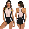 Zippered Front Sports One Piece Swimsuit 25