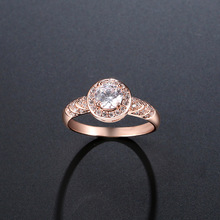 NJ Rose Gold Silver Woman Ring Chic Crystal Zircon Christmas Gift For Women Ladies Wedding Jewelry Rings