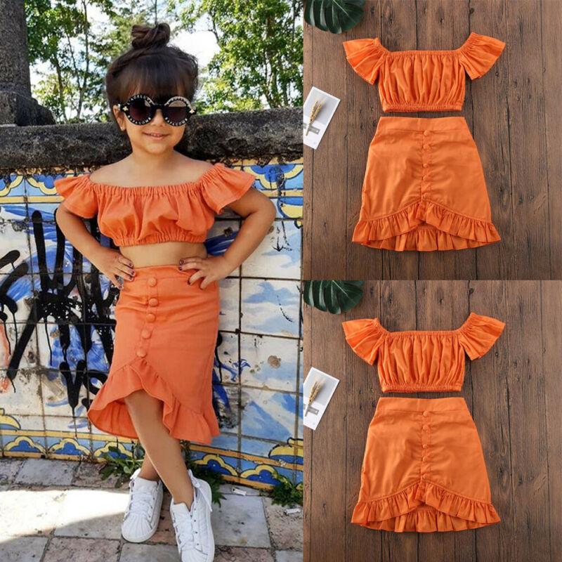 Summer Kids Baby Girls Off Shoulder Crop T-shirt Tops Dress Skirt Outfit Clothes