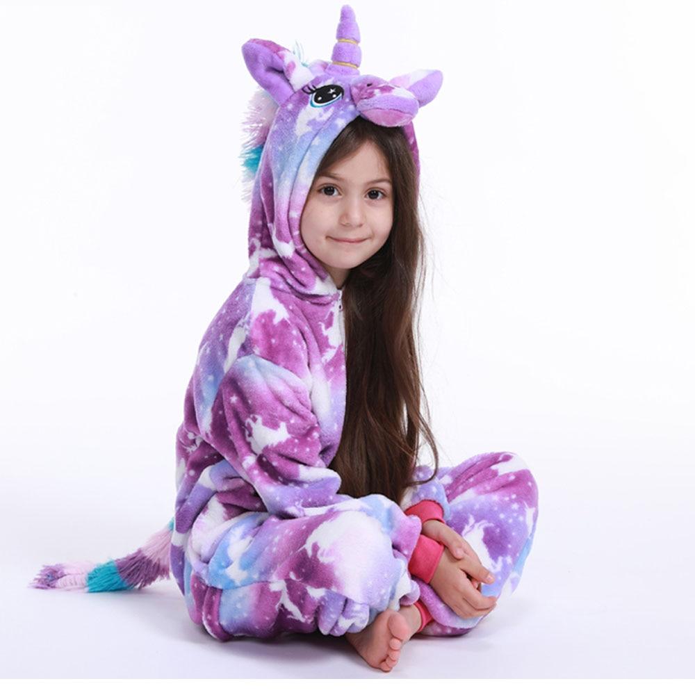 Kids Pajamas Onesies Hooded Unicorn Girls Sleepwear Animal Flannel Winter Boys Children