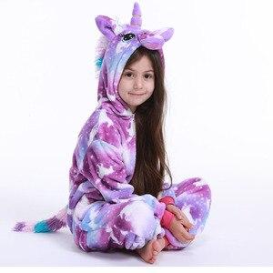 Flannel animal Children Pajamas Set Winter Hooded Animal Unicorn Cartoon Kids Pajamas For Boys Girls Sleepwear Onesies(China)