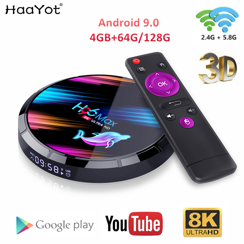 HAAYOT H96 Max X3 4GB 64GB 128GB 8K Amlogic S905X3 Smart TV BOX Android 9.0 Dual Wifi 1080P 4K Youtube Set Top Box 4GB RAM 64GB