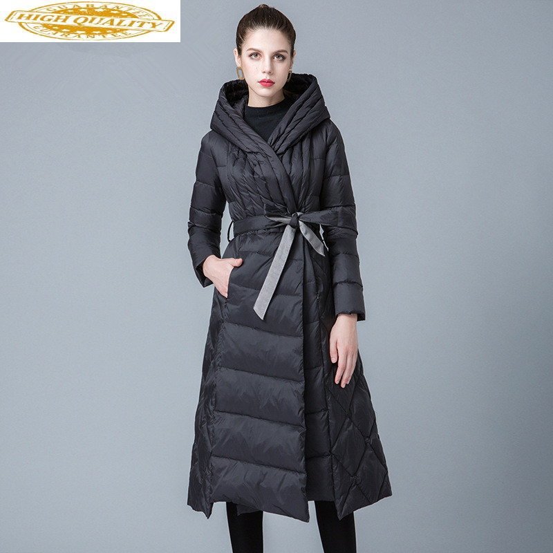 2020 New Winter White Duck Down Jacket Woman Hooded Long Down Coats Puffer Light Jacket Chamarras De Mujer 8841217 KJ2631