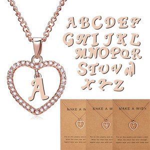 DoreenBeads Fashion 26 English Letter Necklace For Women Accessories Hollow Heart Pendant make a wish Paper Card Necklace,1 PC