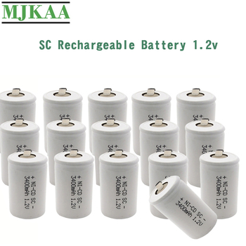 MJKAA 15Pcs SC 3400mAh 1.2V Rechargeable Battery 4/5 SC Sub C Ni-cd Cell with Welding Tabs for Electric Drill Screwdriver image