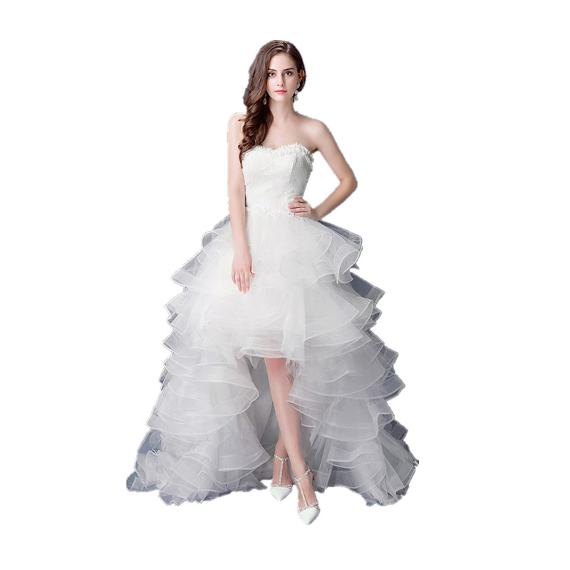 New 2020 Vestido De Noiva Luxury Lace Strapless High/Low Ruffles Train Off White Wedding Dresses Custom Plus Size Bride Frocks
