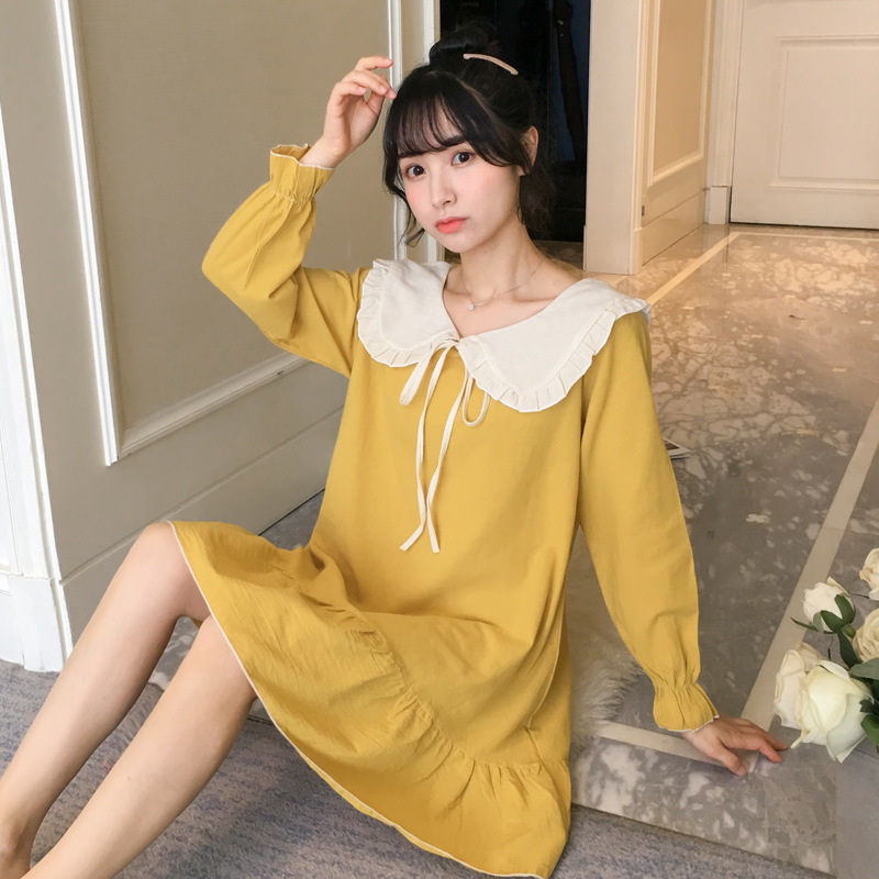 2019 Spring And Autumn Women's New Style Tatting Pure Cotton Lace Princess Long Sleeve Pullover Nightgown Tracksuit-Outer Wear