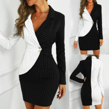 Sexy black double breasted blazer dress Office dress robe blazer white dress Plus size slim bodycon work wear dresses