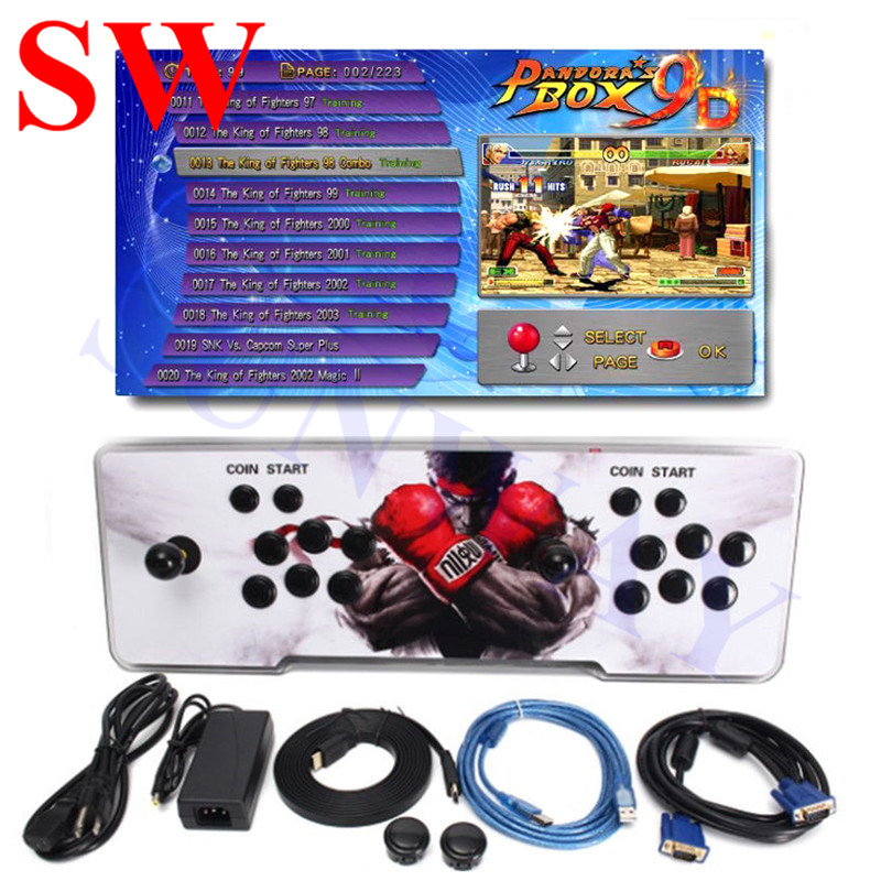 Pandora Box 9D Arcade Game Console With 2222 In 1 PCB Board +Fight Joystick+ Buttons For 2 Players Control Retro Arcade Game Box