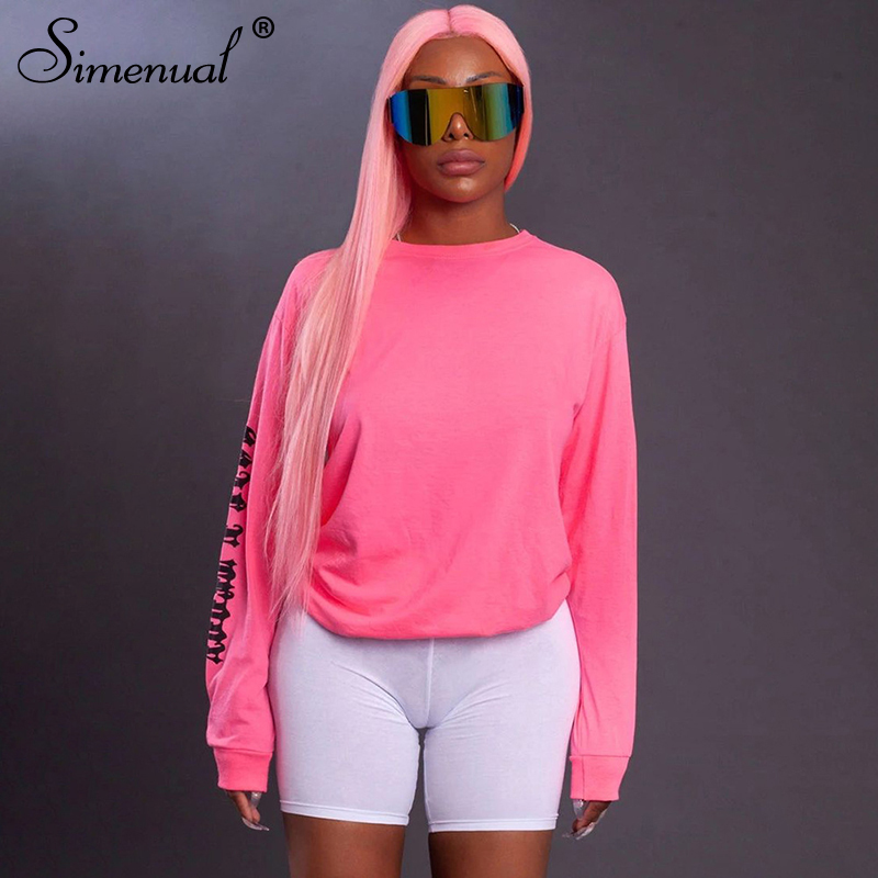 Simenual Letter Print Casual Sporty Sweatshirts Neon Color Fashion 2019 Women Hoodies Workout Active Wear Autumn Slim Sweatshirt
