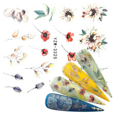 YZWLE 1 PC Flower Bud Glitter Nail Sticker Water Transfer Decal Decoration DIY Adhesive Tips Manicure Nail Art Decals yzwle 1 pc flower bud glitter nail sticker water transfer decal decoration diy adhesive tips manicure nail art decals