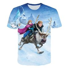 New design T-shirt Man / woman Frozen 2 series cool fashion refreshing Olaf Elsa 3D printed short shirts t-shirts with sleeves(China)