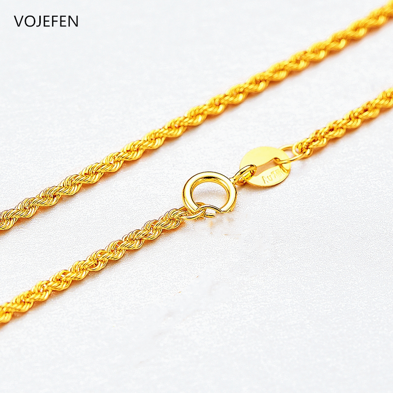 VOJEFEN Fine Jewelry 18K Real Gold Rope Chain Jewelry Necklace for Men and Women- Braided Twist Chain Necklace AU750 3
