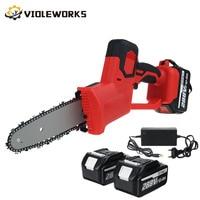 Elektrische Säge Kettensäge 8 zoll 288V 1500W Wiederaufladbare Holzbearbeitung Power Tool mit 2 Batterien Bürstenlosen Motor Holz Cutter kit