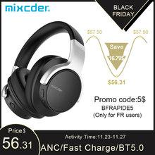 Mixcder E7 aktif gürültü iptal kablosuz Bluetooth mikrofonlu kulaklıklar Hi Fi Stereo kulaklık derin bas aşırı kulak kulaklık