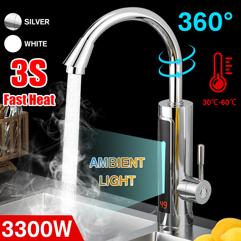 3300W 220V Instant Electric Water Heater Faucet Tap LED Ambient Light Temperature Display Bathroom Instant Heating Tap
